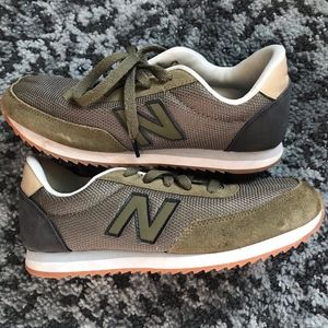 new balance 501 children's in green, grey, and tan
